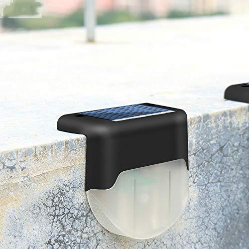 HHJS Solar Fence Light, Solar Powered Garden Lights Smart Side Button IP65 Waterproof for Patio, Fence, Yard, Garden, Garage, Stairway, Gate, Wall - Warm Light(4 Pack)-Black warm light
