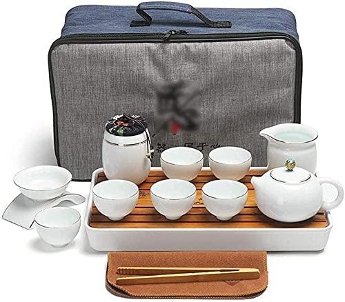 Conjunto de bule de chá japonês com saco de armazenamento, conjunto de chá Kung Fu feito à mão cerâmica conjunto de chá e 6 xícaras com filtro para casa e escritório