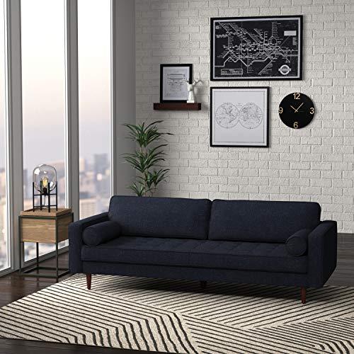 "Amazon Brand – Rivet Aiden Mid-Century Sofa with Tapered Wood Legs, 87""W, Wathet Blue"