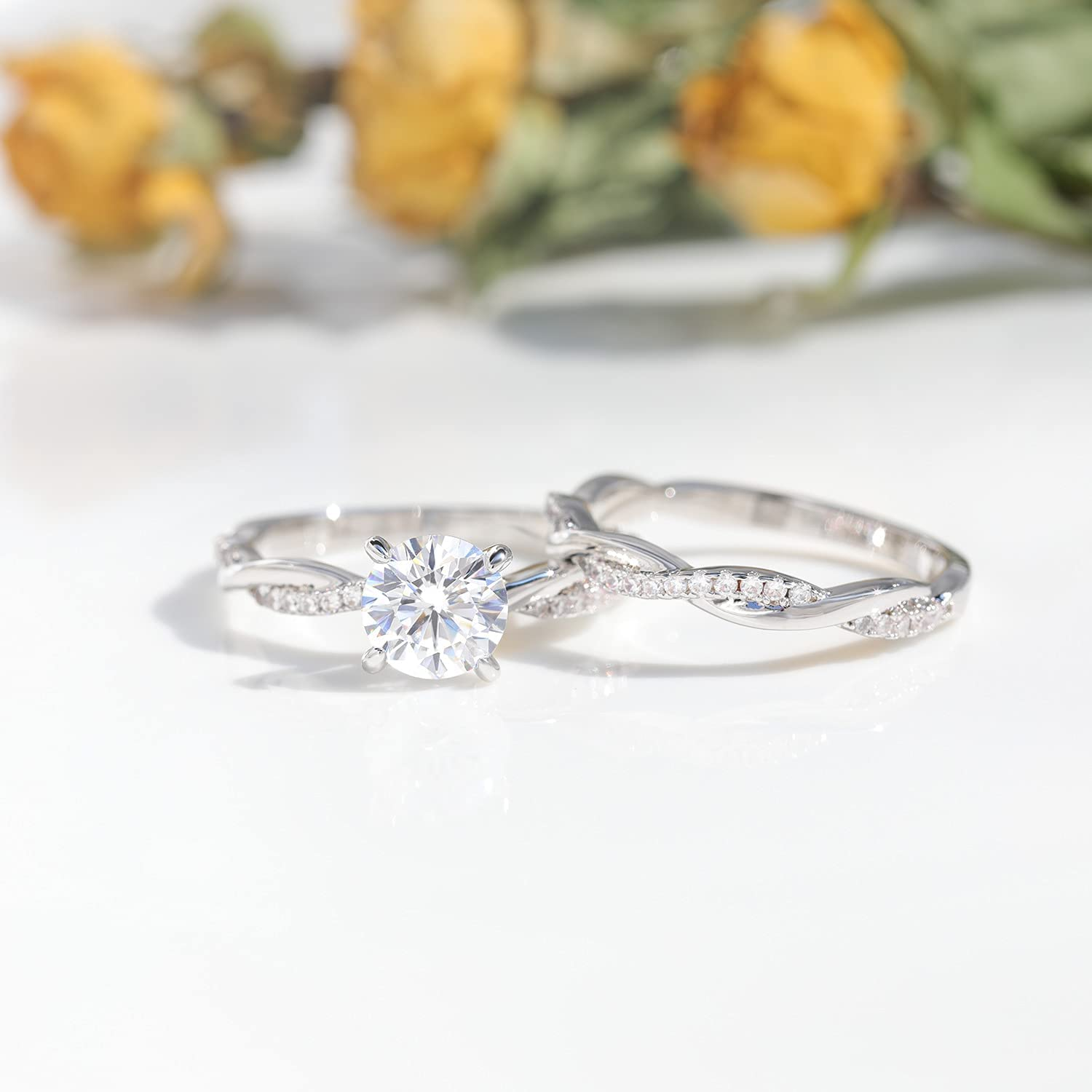 Greenpod 1.25ct Engagement Rings for Women Round Bridal Ring Sets Cubic Zirconia Wedding Band Twisting Infinity Pave Set Size 4-12