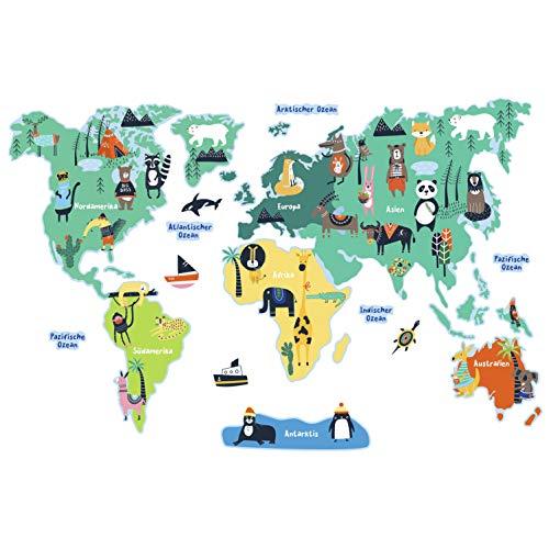 Birdie Birdie Weltkarte Wandtattoo für Kinder | PVC-freie Wandtattoo für Kinderzimmer und Spielzimmer | ablösbare Wandaufkleber für Jungen & Mädchen (Extra Groß) (Deutsche Ver.)
