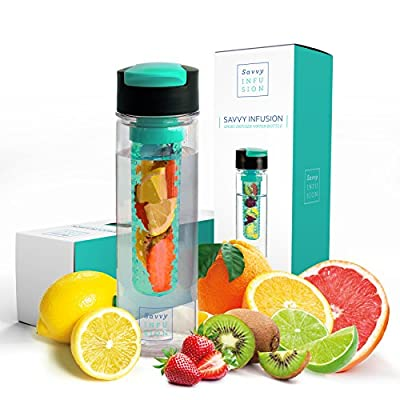 Savvy Infusion Flip Top Fruit Infuser Water Bottle - 24 Ounce - Unique Leak Proof Lid - Great Gifts for Women - Includes Bonus Infused Water Recipe eBook by One Savvy Life