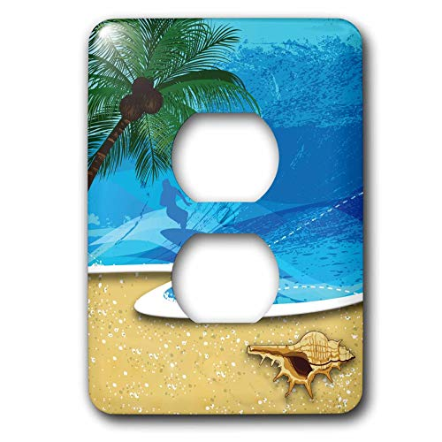 Duplex Receptacle Outlet Wallplate 1 Gang Outlet Covers Beach Scene With A Palm Tree Sea Shell and Surfer Classic Beadboard Wall Plate Decorator Unbreakable Faceplate