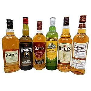 飲み比べ スコッチウイスキー 6種 ティーチャーズ、ウインチェスター、 グランツ、カティーサーク、ベル、デュワーズ