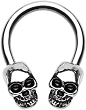 14 GA Skull Face Off Industrial Barbell 316L Surgical Stainless Steel Body Piercing Jewelry for Men and Women Davana Enterprises
