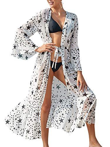 Carolilly Vestido largo de verano para mujer, de playa, de verano, para la playa, bikini, Cover Up sexy, elegante, para mujer, bohemio, para vacaciones, largo Color blanco. Talla única