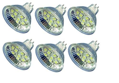 MR16 GU5.3 Bi-Pin LED-Leuchtmittel AC DC 12 V 24 V 2 Pin Glühbirnen Ersatz für 10 W Mini-Halogen-Spot-Lampen Marine Boot RV Spotlights & Low Volt Home Beleuchtung – Kaltweiß, 2,5 Watt (6 Stück)
