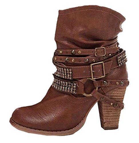 Minetom Mujer Retro Atractivo Moda Invierno Boots Botas Zapatos De Altas Tacón Alto Casual Remache Decoración Botines