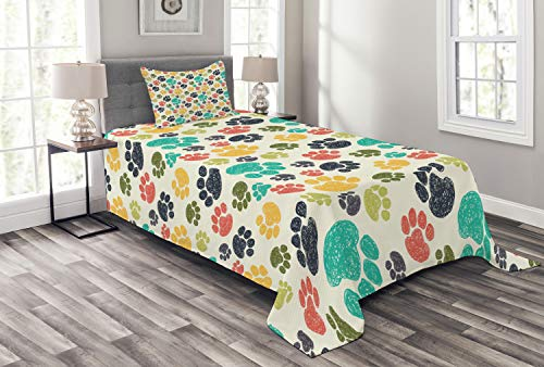 Ambesonne Dog Lover Bedspread, Hand Drawn Paw Print Doodles Circular Pattern Children Drawing Style Animal, Decorative Quilted 2 Piece Coverlet Set with Pillow Sham, Twin Size, Charcoal Beige