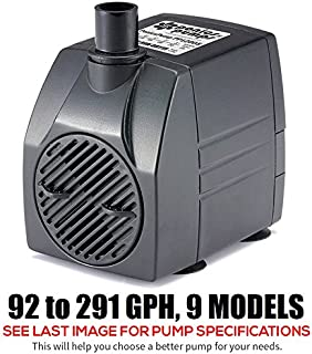 PonicsPumps PP12005: 120 GPH Submersible Pump with 5' Cord - 6W. for Fountains, Statuary, Aquariums & More. Comes with 1 Year Limited Warranty.