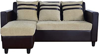 CasaStyle - Minzee 4 Seater L Shape Interchangeable Sofa (Beige-Brown) | Sofas for Living Room