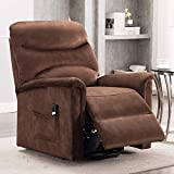 Bonzy Home Electric Power Lift Recliner Chair with Remote for Elderly, Soft Fabric Power Recliner with Remote for Bedroom Theater Room (Chocolate)
