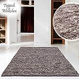 Hand-Web-Teppich   Reine Schur-Wolle im Skandinavischen Design   Wohnzimmer Esszimmer Schlafzimmer Flur Läufer   Grau Beige (Oslo Grau - 60 x 90 cm)