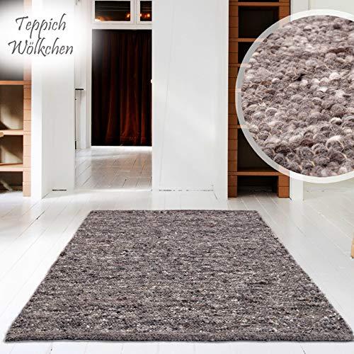 Hand-Web-Teppich | Reine Schur-Wolle im Skandinavischen Design | Wohnzimmer Esszimmer Schlafzimmer Flur Läufer | Grau Beige (Oslo Grau - 60 x 90 cm)