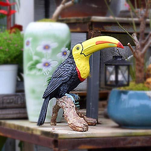Vintage Lights Resin Toucan Parrot Figurine Garden Decoration Animals Outdoor Lawn Sculpture Ornament,Black