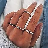 Simsly Vintage Knuckle cuore anello oro o argento cristallo Joint Knuckle Ring set con Cresent per donne e ragazze (12 pezzi)