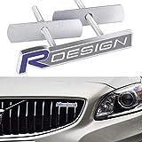 JZAMQ Etiqueta engomada del Coche del diseño del Metal 3D R con el Estilo del Coche de la Placa de la Parrilla Delantera del Emblema para el diseño de Volvo R S60 V60 Xc60 S60 V40, Etiqueta engoma