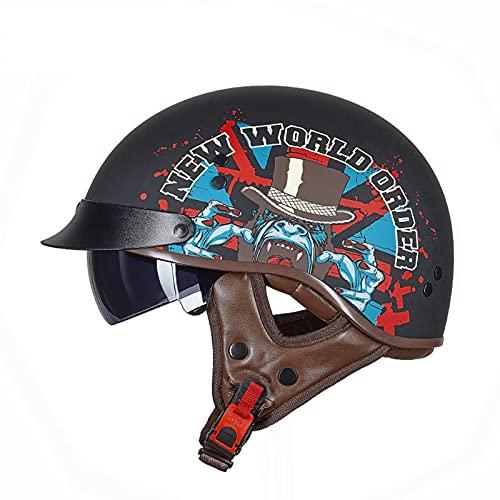 GAOZ Retro Casco de Moto Abierto Visera Media Casco de Protección para Moto Scooter Ciclomotor Piloto para Hombres Y Mujeres Vintage Style ECE Homologado