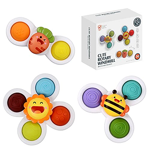 Ingooood Suction Cup Spinner Toys 3PCS Spinning Top Baby Toys for Toddlers Baby Bath Toys Baby Dimple Toys
