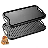 NutriChef PFOA & PFOS Free Oven Safe Flat Skillet Griddle Pan Cast Iron Reversible Grill Plate,...