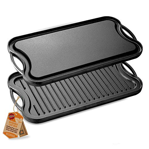NutriChef PFOA & PFOS Free Oven Safe Flat Skillet Griddle Pan Cast Iron Reversible Grill Plate, w/Scraper for Electric Stovetop, Ceramic, Induction NCCIRG64