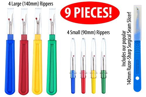 Ultima 9 Piece Colorful Seam Ripper Assortment - 8 Stitch Rippers (4 Large & 4 Small) & One 5.5
