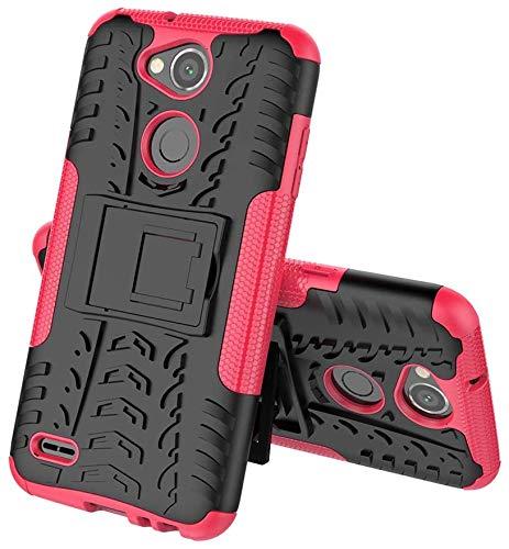Sunrive Hülle Für LG X Power2, Tasche Schutzhülle Etui Hülle Cover Hybride Silikon Stoßfest Handyhülle Hüllen Zwei-Schichte Armor Design schlagfesten Ständer Slim Fall(rosa)