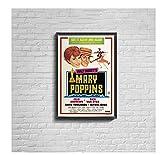 Mary Poppins (1964) Póster de película Vintage Impresión de lienzo Decoración de pintura de pared vintage para el hogar(60X90Cm) -24x36 Pulgadas Sin marco
