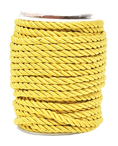 Mandala Crafts Rayon Twisted Cord Trim, Shiny Viscose Cording for Home Décor, Upholstery, Curtain Tieback, Honor Cord (5mm, Gold)