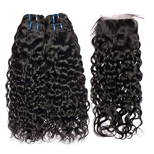 RQY Brazilian Water Wave with Closure (14 16 18+14 closure) Free Part 100% Human Hair Bundles with Closure 9A Brazilian Water Wave Bundles with Closure Natural Color
