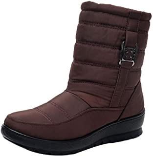 Fulision Female Winter Keep Warm Wedge Mid-Tube Snow Boots with Side Zipper