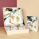 Woonn Juego de cuadernos A5, caja de regalo, papelería, diario de página en color, papelería para estudiantes, papelería de tapa dura Cangjianlu-blanco regalo para hombres y mujeres estudiantes