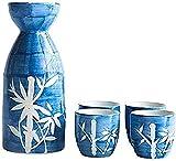 Mnjin Exquisito Juego de Sake de 5 Piezas, Juego de Vino de cerámica de Estilo japonés, Juego de Sake de bambú Pintado a Mano, para Sake frío/cálido/Caliente/Shochu/té, par
