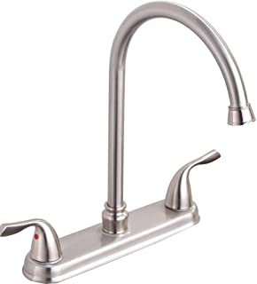 Hotis Commercial Stainless Steel Lead-Free Two Lever Two Hole Gooseneck High Arc Two Handle Kitchen Faucet,Faucet Kitchen Brushed Nickel