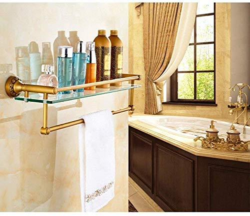 YZjk Household Bathroom Shelf (Handtuchhalter) Badezimmerregale Duschregal Messingglasregale Antiker Handtuchhalter (Zwei Modelle können DREI Größen wählen) Sicherstellung der Qualität, 63 * 14,5 cm