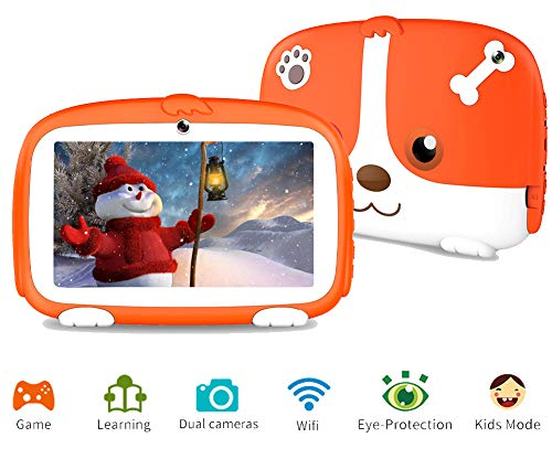 Tablet for Kids, Kids Tablet Parental Control & Kids Mode Pre-Installed Android 9.0 Tablet with WiFi Learning Games Camera Kids Tablet for Children Kid-Proof Silicone Case 7 inch Tablet 1G+16G (Best Tablet For Kids Games)