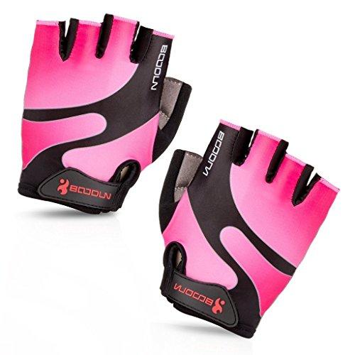 iCREAT Damen/Herren Kurze Rennrad Handschuhe Power Fahrrad Active Gloves mit Geleinlage Rosa, Größe XL
