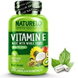 NATURELO Vitamin E - 180 mg (300 IU) of Natural Mixed Tocopherols from Organic Whole Foods - Supplement for Healthy Skin, Hair, Nails, Immune & Eye Health - Non-GMO, Soy Free - 90 Vegan Capsules