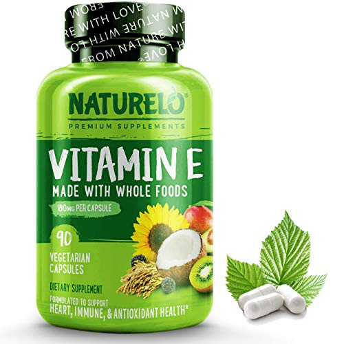 NATURELO Vitamin E - 180 mg (300 IU) of Natural Mixed Tocopherols from Organic Whole Foods - Best Supplement for Healthy Skin, Hair, Nails, Immunity, Eye Health - Non-GMO, Soy free - 90 Vegan Capsules