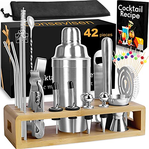 Bartender Kit Cocktail Shaker Set Bar Tools Set, 42 Piece Stainless Steel Mixology Bartending Kit for Martini Drink Mixing, Home Bars Party, Includes 24oz Mixer Shaker, Bamboo Stand, Jigger, Recipes