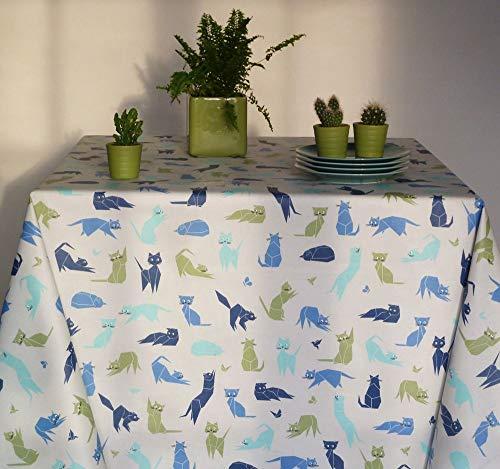 Fleur de Soleil - Nappe enduite ronde ou ovale Chats bleus Dimension - Ovale 160x200cm, Finition - Ourlée, Matière - Coton enduit
