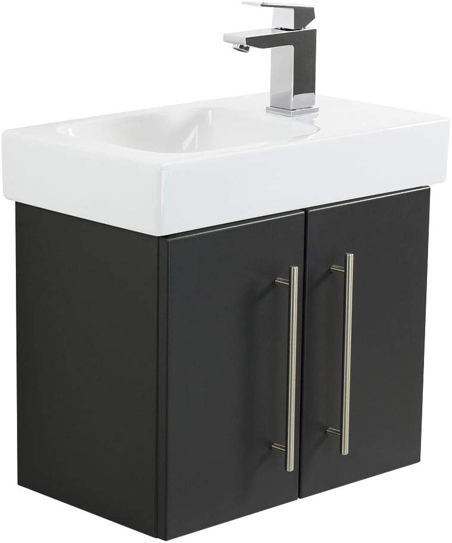 Emotion ICONXS53CMRECHTS000104DE Waschbecken mit Unterschrank, Holz, anthrazit seidenglanz, 53 x 41 x 29,6 cm