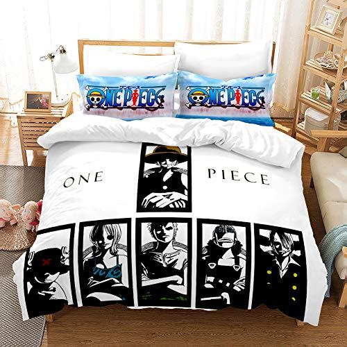 Probuk Juego de cama de una pieza Ruffy Ace Zoro Anime con impresión 3D, ropa de cama infantil y adolescente con funda de almohada (A-05,135 x 200 cm (50 x 75 cm)