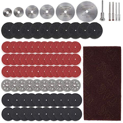 ODOMY 67/88 discos de corte, discos de diamante Dremel, mini discos de corte, corte de resina, vidrio, metal, madera, azulejos, con 5 mandriles para piedra circular, amoladora de taladro (88 unidades)
