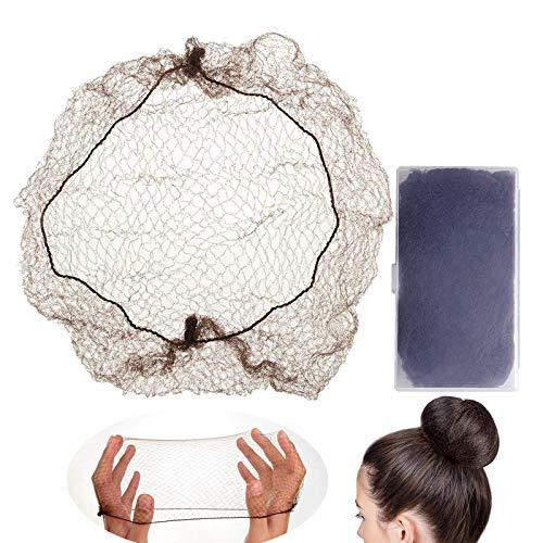 LEEQ 30 redes de pelo invisible con borde elástico para la fijación de pelucas y el cabello, para hacer moños, café