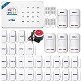 KR-W18 WiFi GSM SMS APP Kit Alarme de Maison Téléphonique sans Fil Securité Système Alarme Antivol, Système d'alarme Intruder Maison Accueil Capteur de Porte