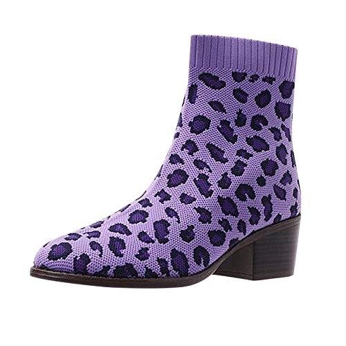 DAIFINEY Damen Winterstiefel Leopard Elastizität Stricken Kurzschaft Stiefel Ankle Boot Halbstiefel Stiefelette Bootie Schlupfstiefel Schneestiefel Winterschuhe(1-Violett/Purple,35)