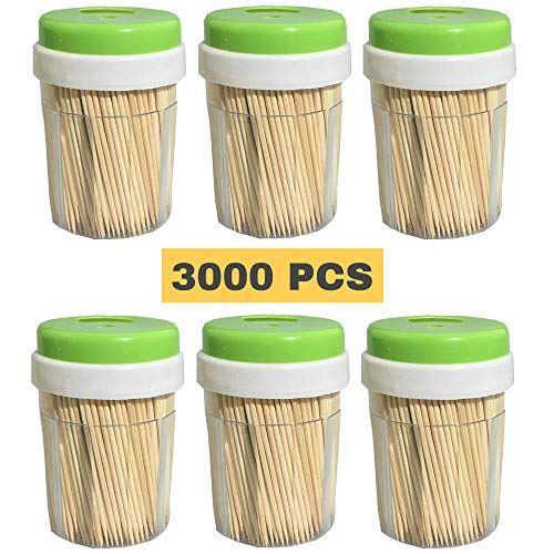 Bamboo Wooden Toothpicks 3000 Bulk Pack  Round Strong SplinterFree for Teeth and Appetizers