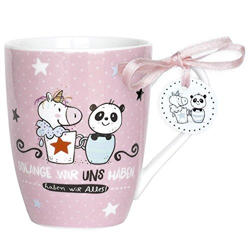 Hope und Gloria 45345 Cappuccino-Tasse mit Einhorn- und Panda-Motiv, Solange wir uns haben,  Porzellan-Tasse, 40 cl, mit Geschenk-Anhänger, Rosa