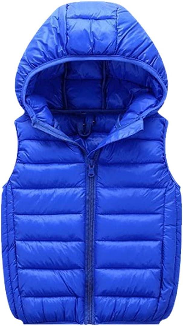 FLZS Children Hooded Vests Warm Thicken Sleeveless Jacket Unisex Down Cotton Vest